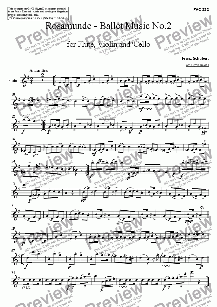 page one of the Flute part from Rosamunde - Ballet Music No.2