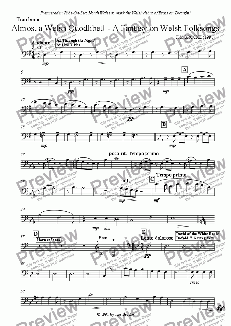 page one of the Trombone part from Almost a Welsh Quodlibet - A Fantasy on Welsh Folksongs - for brass quintet