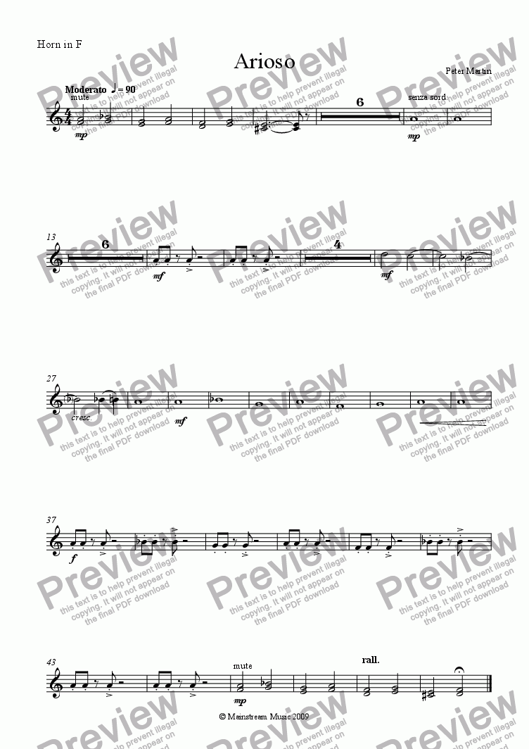 page one of the Horn in F part from Arioso