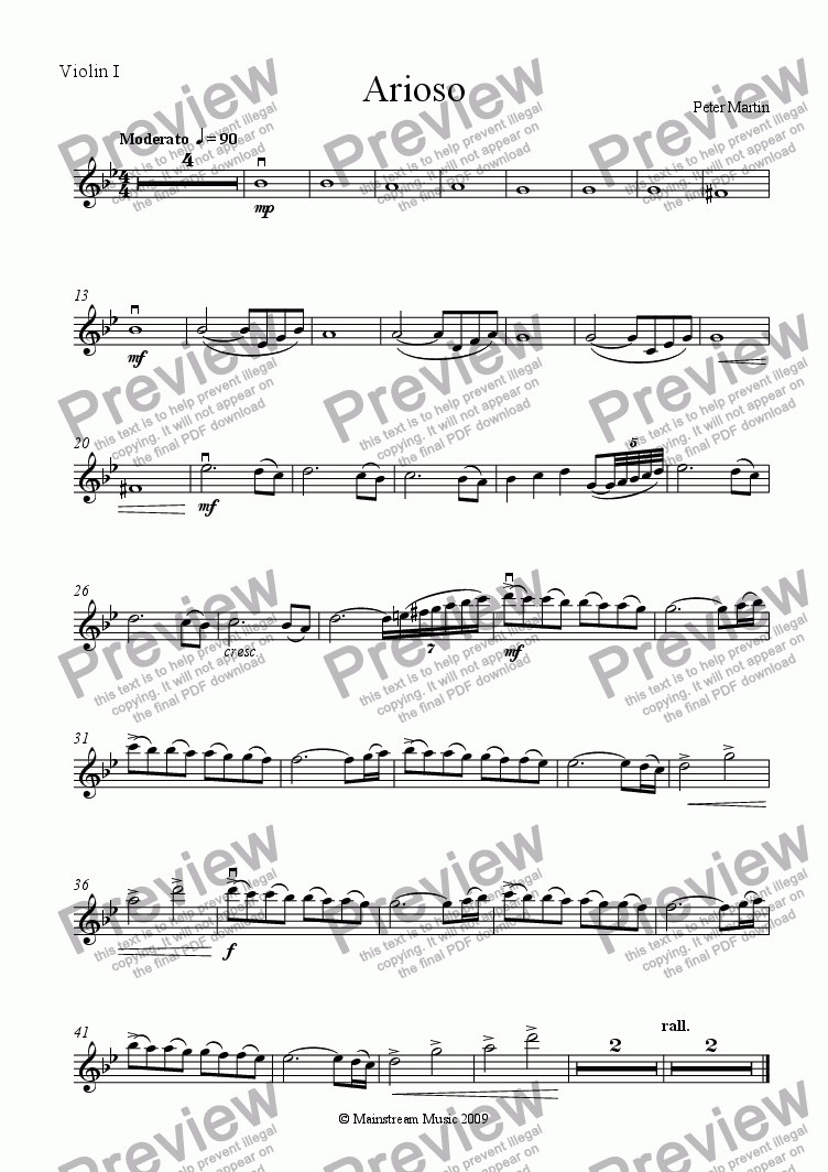page one of the Violin I part from Arioso