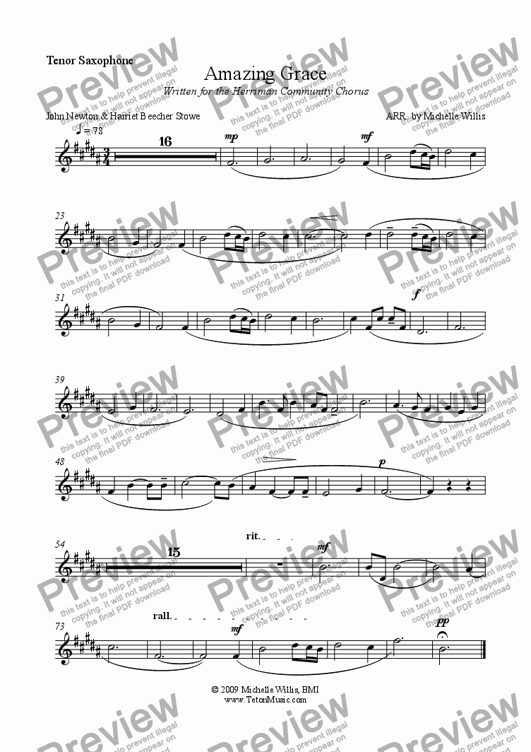 page one of the Tenor Sax part from Amazing Grace-Orchestral