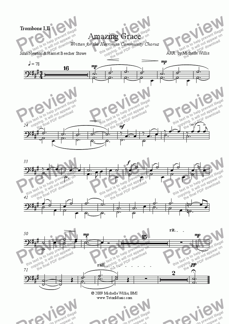 page one of the Trombone part from Amazing Grace-Orchestral