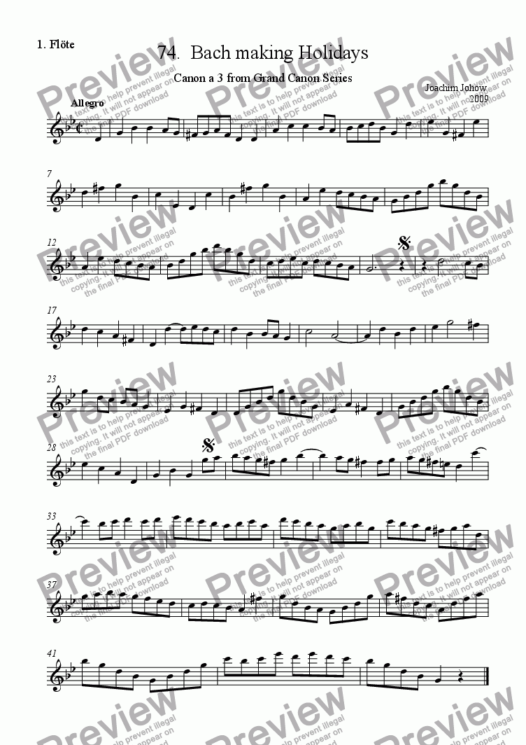 page one of the 1. Fl part from Grand Canon 74 (Bach making holidays - 3 Fl)
