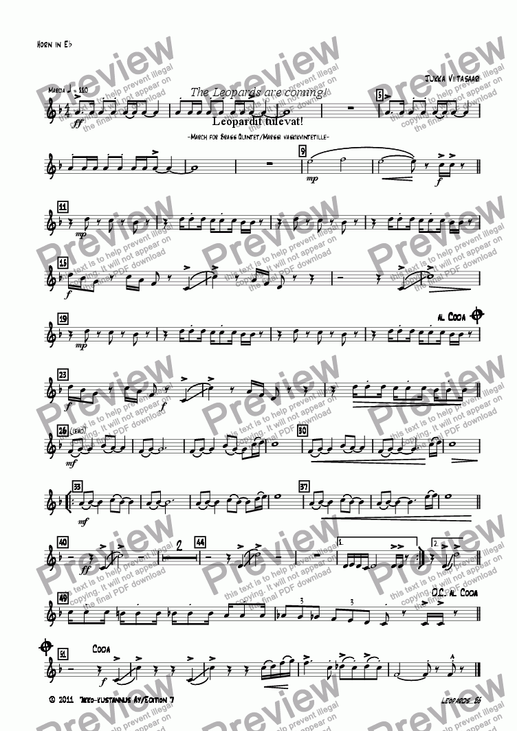 page one of the 03B Horn in Eb part from The Leopards are coming! (march for brass quintet)
