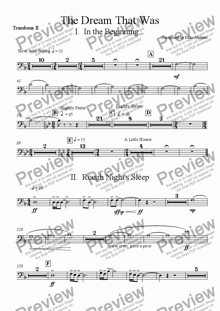 page one of the Trombone II part from The Dream That Was - Movement I