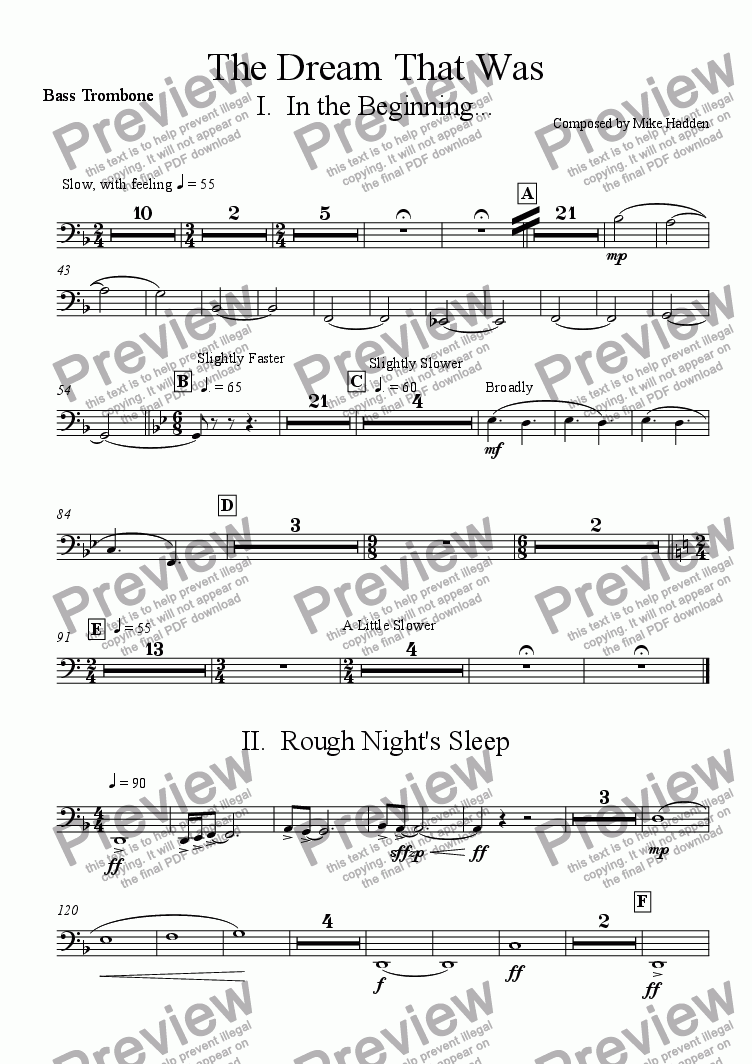 page one of the Bass Trombone part from The Dream That Was - Movement I