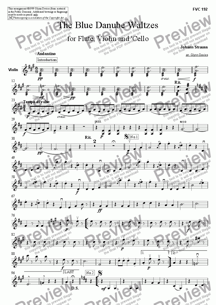 page one of the Violin part from The Blue Danube Waltzes