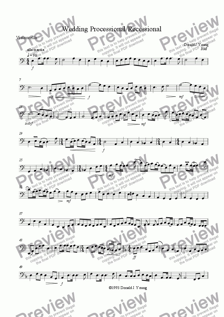 page one of the cello part from Wedding Processional/Recessional