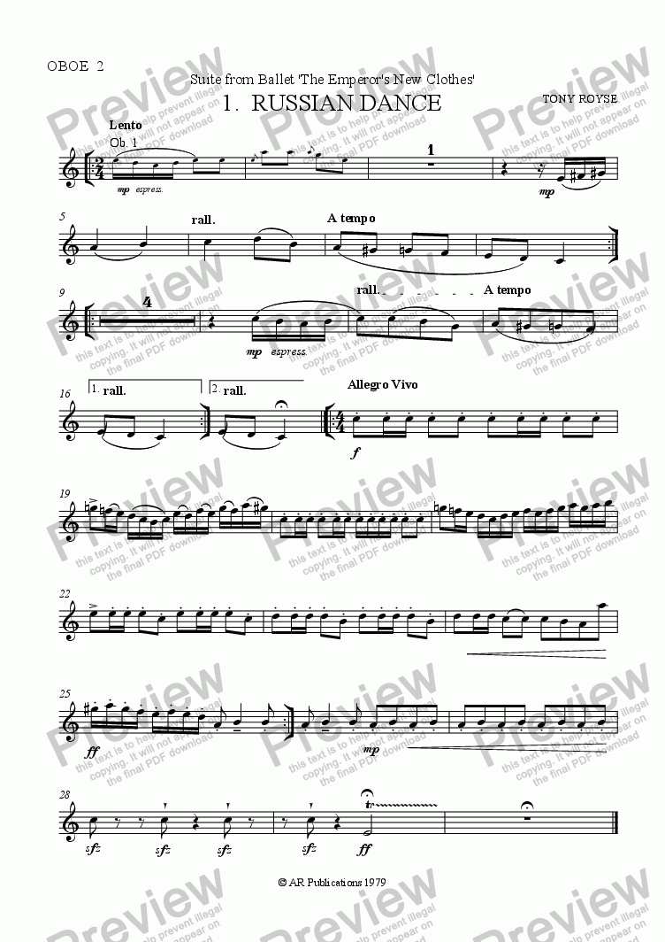 page one of the Oboe 2 part from Suite from The Emperor's New Clothes (No.1)