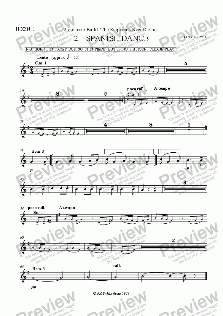 page one of the Horn 1 part from Suite from The Emperor's New Clothes   (No.  2)