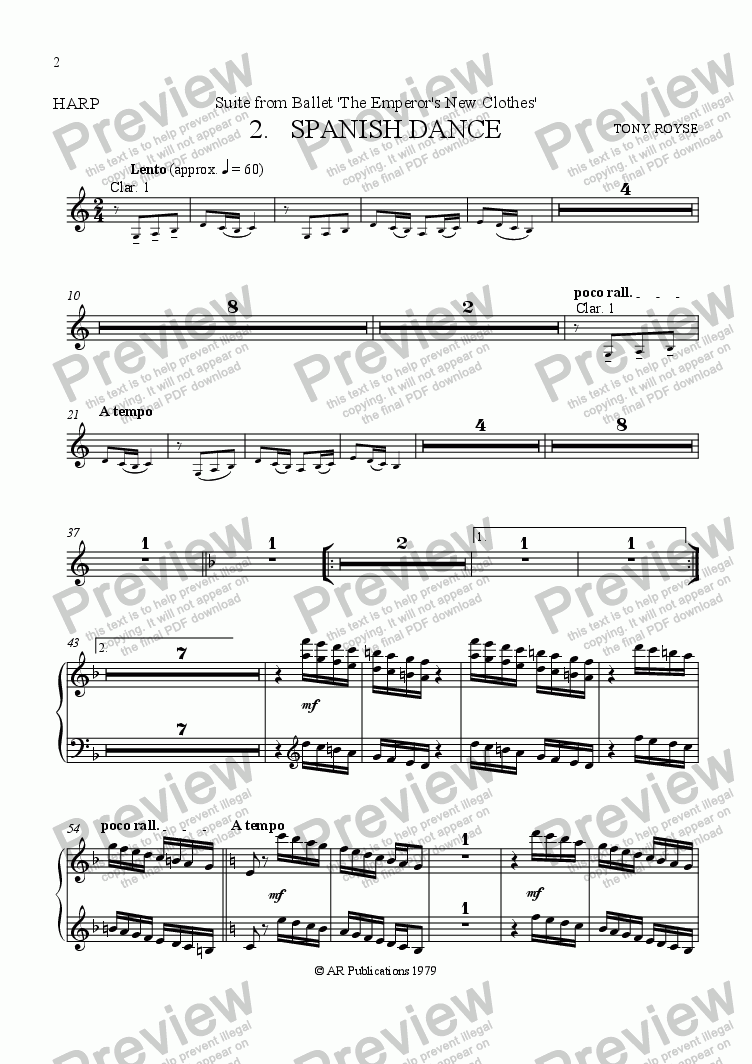 page one of the Harp part from Suite from The Emperor's New Clothes   (No.  2)