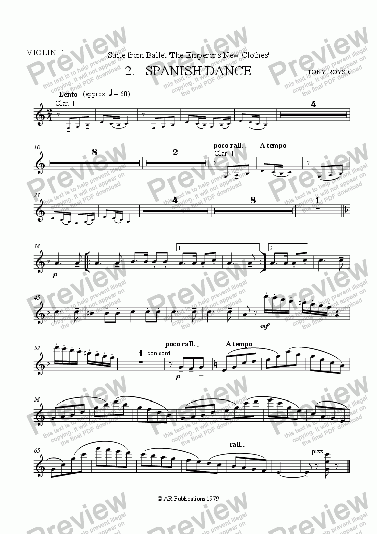 page one of the Vln. 1 part from Suite from The Emperor's New Clothes   (No.  2)