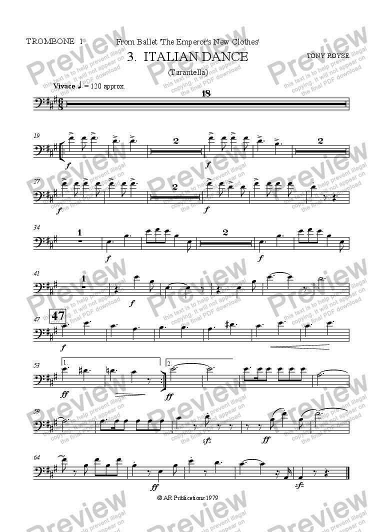 page one of the Trbn. 1 part from Suite from The Emperor's New Clothes (No. 3)