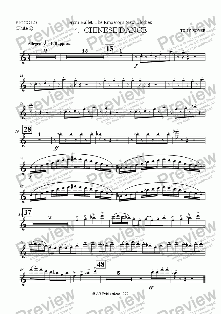 page one of the Flute 2 part from Suite from The Emperor's New Clothes (No. 4)