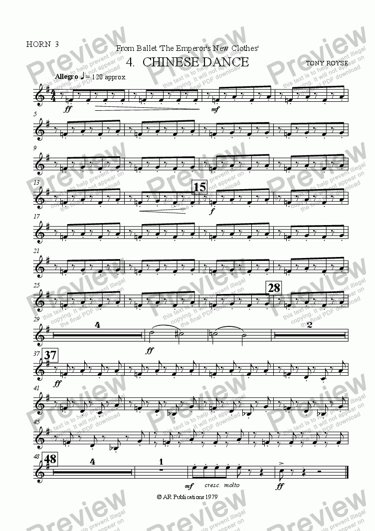 page one of the Horn 3 part from Suite from The Emperor's New Clothes (No. 4)
