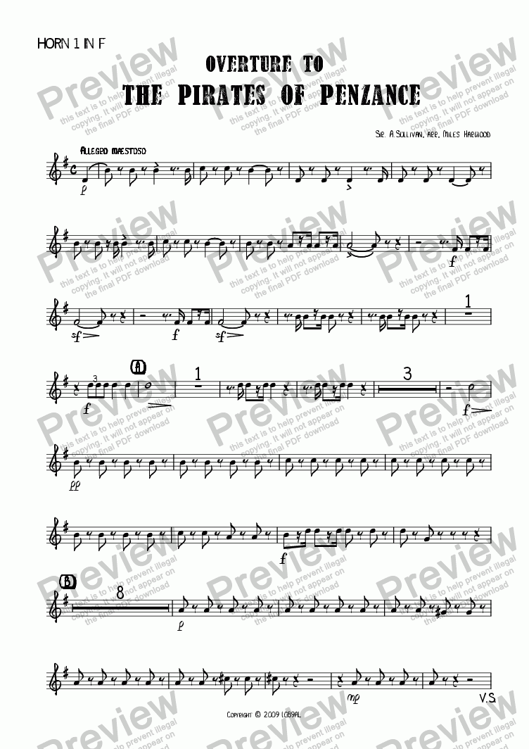page one of the Horn 1 in F part from Overture to 'The Pirates of Penzance'