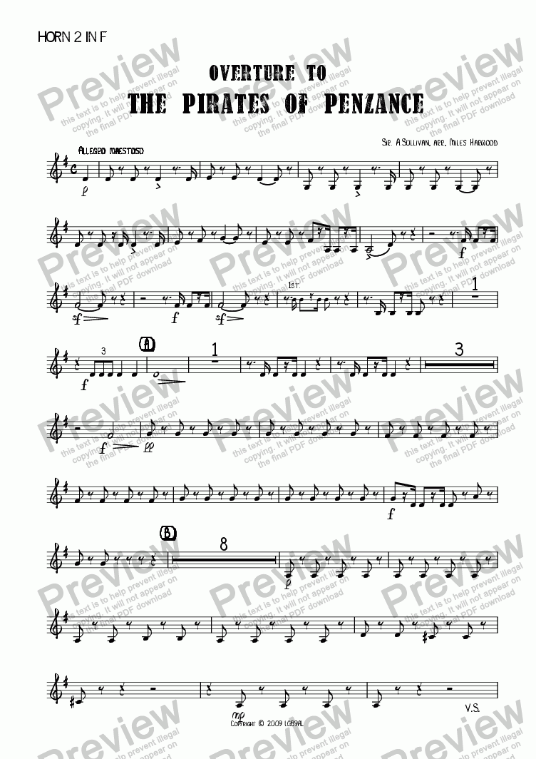page one of the Horn 2 in F part from Overture to 'The Pirates of Penzance'