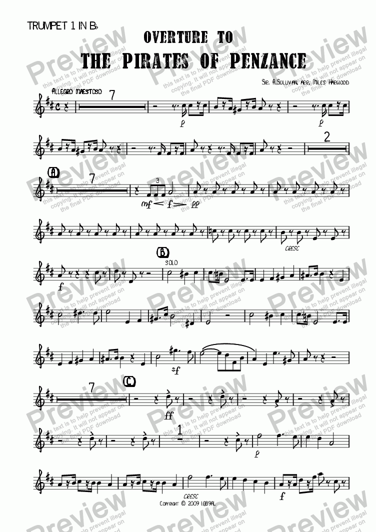 page one of the Trumpet 1 in Bb part from Overture to 'The Pirates of Penzance'