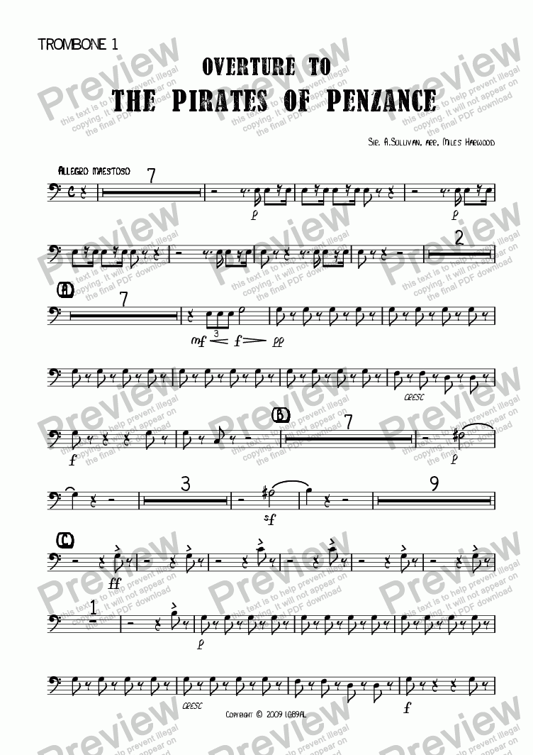 page one of the Trombone 1 part from Overture to 'The Pirates of Penzance'
