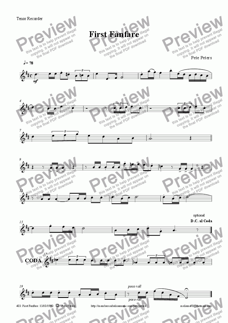 page one of the Tenor part from First Fanfare [C instrument 5tet version]
