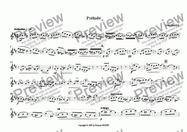 page one of the Violin part from Pr�lude for Clarinet (also Violin or Cello) and Piano by C�sar FRANCK