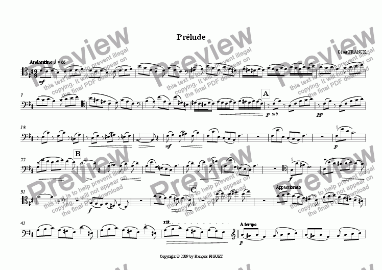 page one of the Cello part from Pr�lude for Clarinet (also Violin or Cello) and Piano by C�sar FRANCK