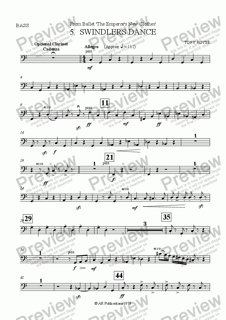 page one of the Bass part from Suite from The Emperor's New Clothes (No. 5)