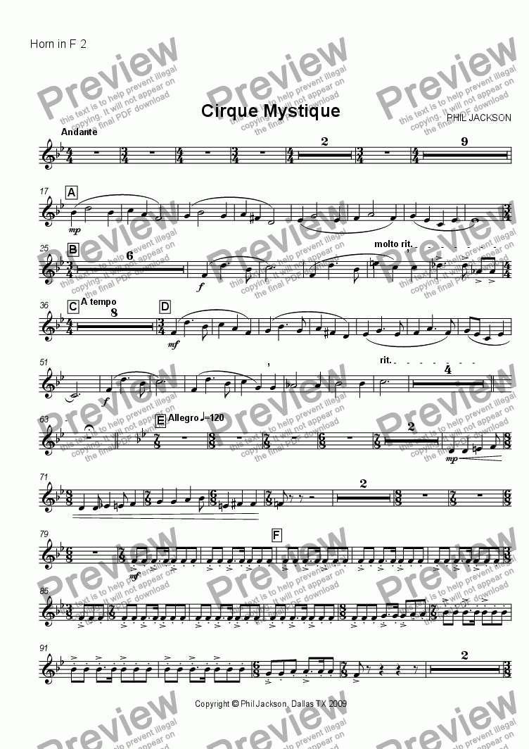 page one of the French Horn 2 part from Cirque Mystique