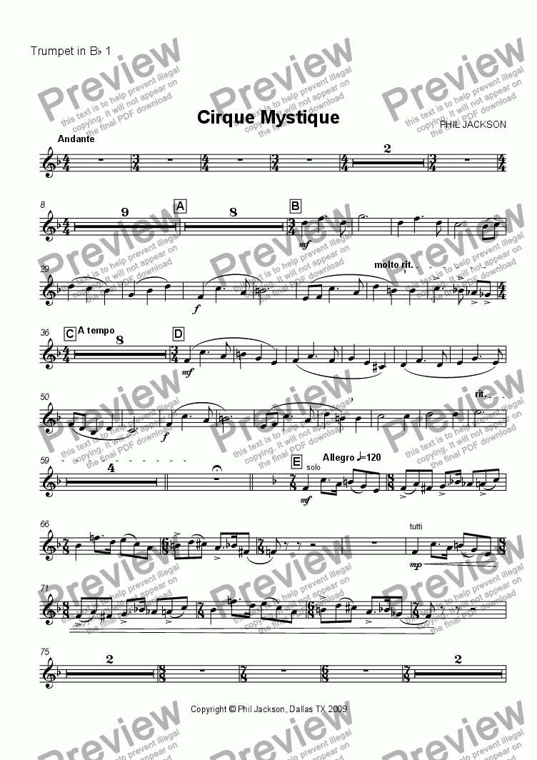 page one of the Trumpet 1 part from Cirque Mystique