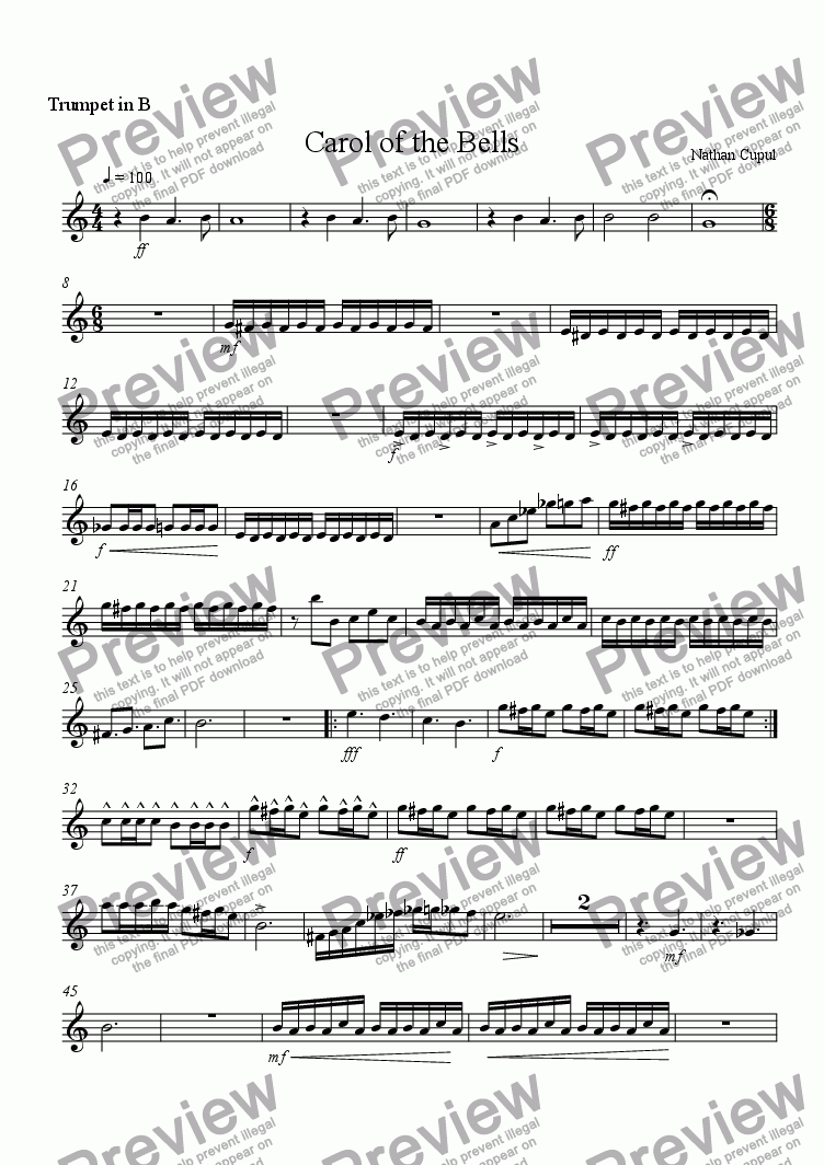 page one of the Trumpet 2 part from Carol of the Bells