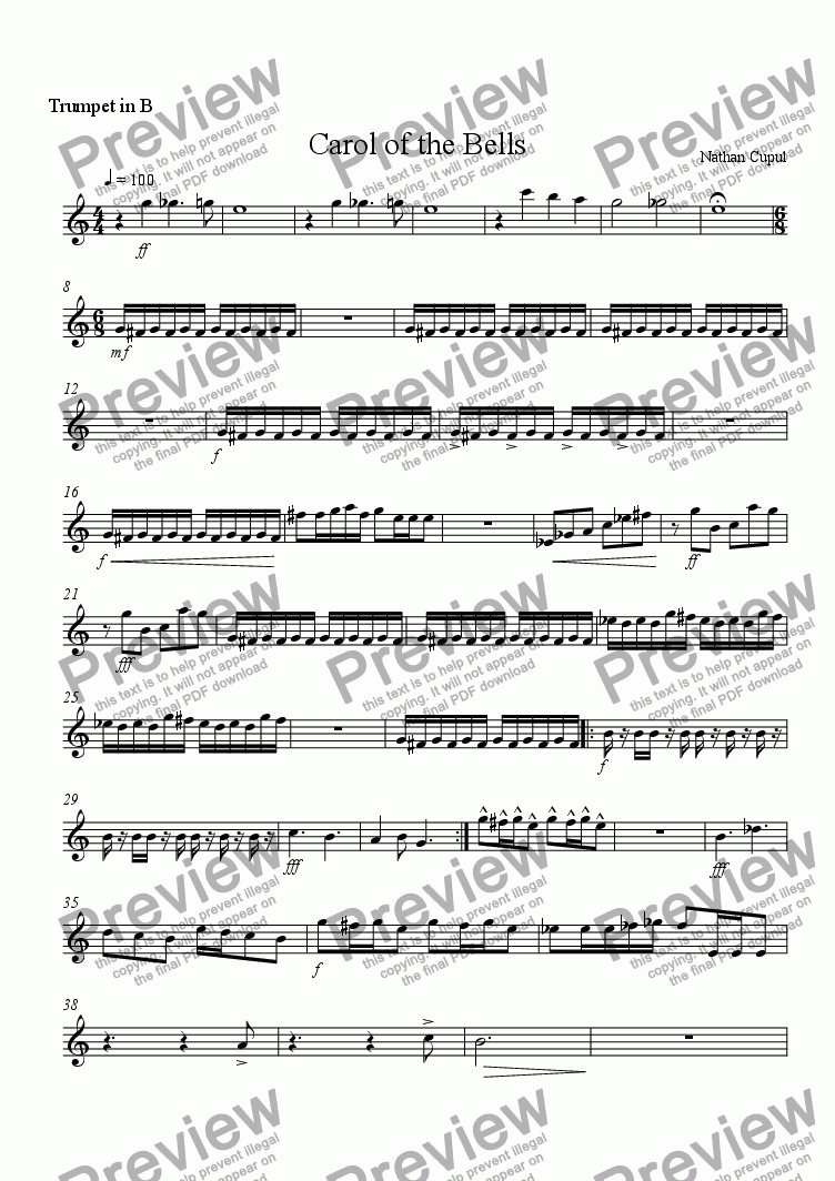 page one of the Trumpet 3 part from Carol of the Bells