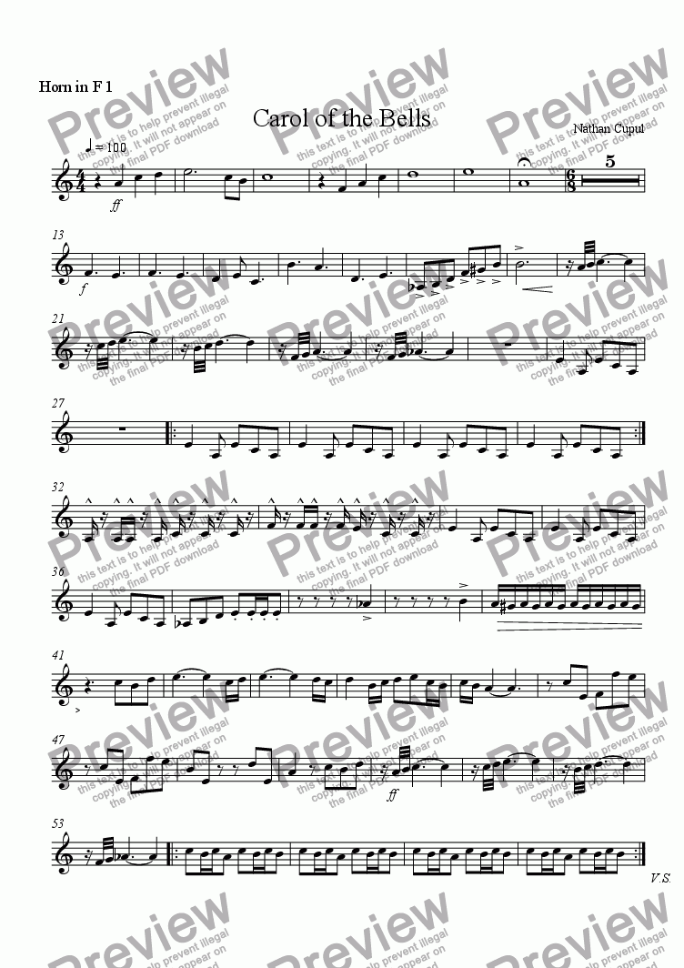 page one of the F Horn 1 part from Carol of the Bells