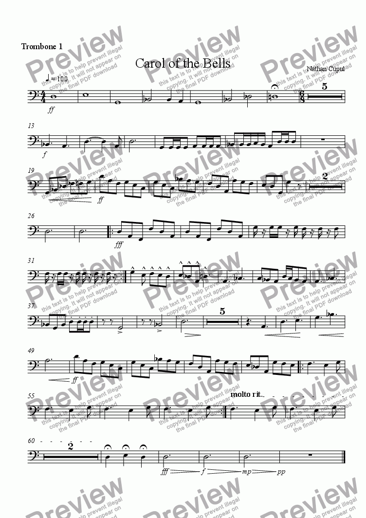 page one of the Trombone 1 part from Carol of the Bells
