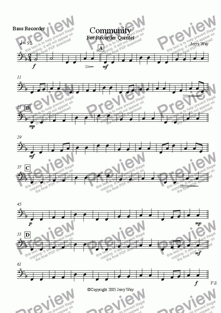 page one of the Bass Recorder part from Community for Recorder Quintet