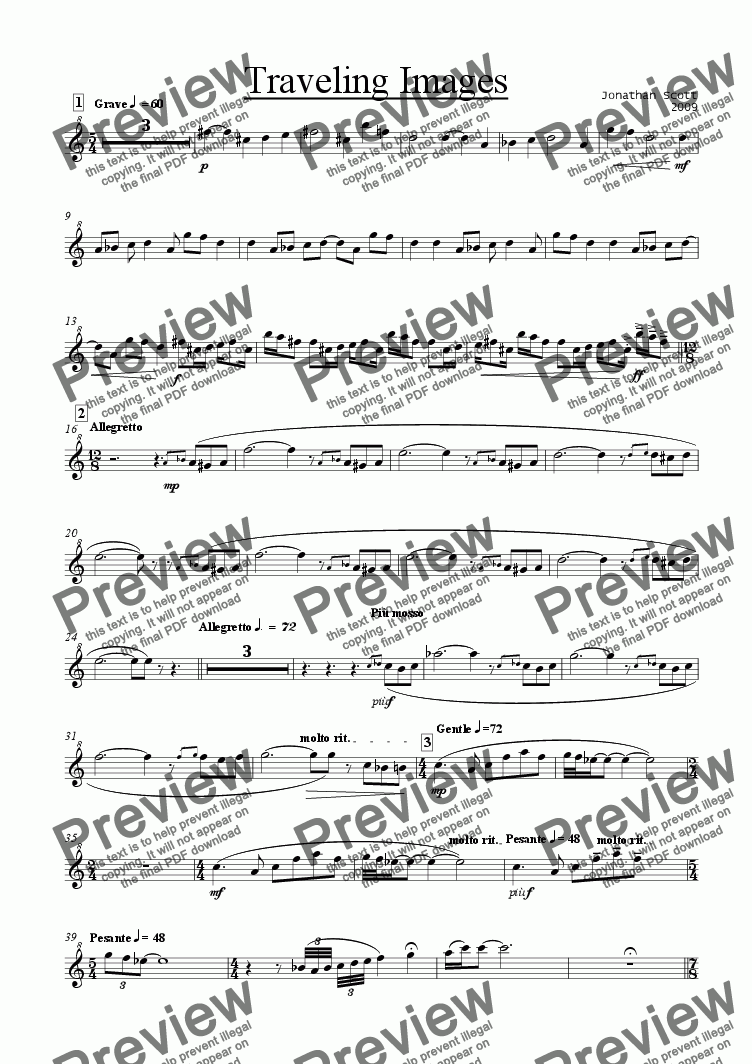page one of the Sopranino Recorder part from Traveling Images for Recorder Quintet