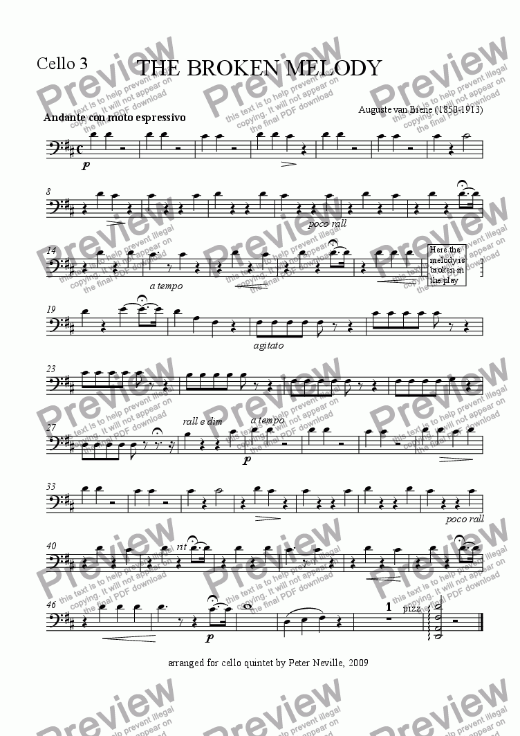 page one of the Cello 3 part from The Broken Melody (arr for 5 cellos)