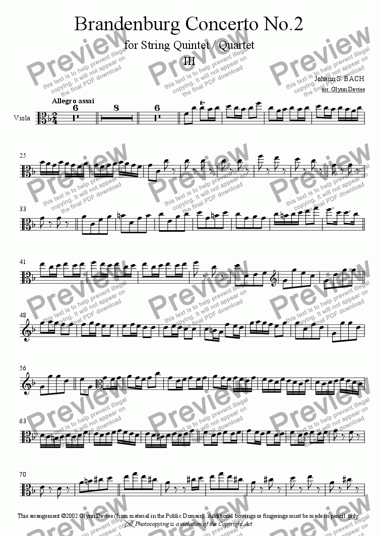page one of the Viola part from Brandenburg Concerto No.2 - 3. Allegro assai