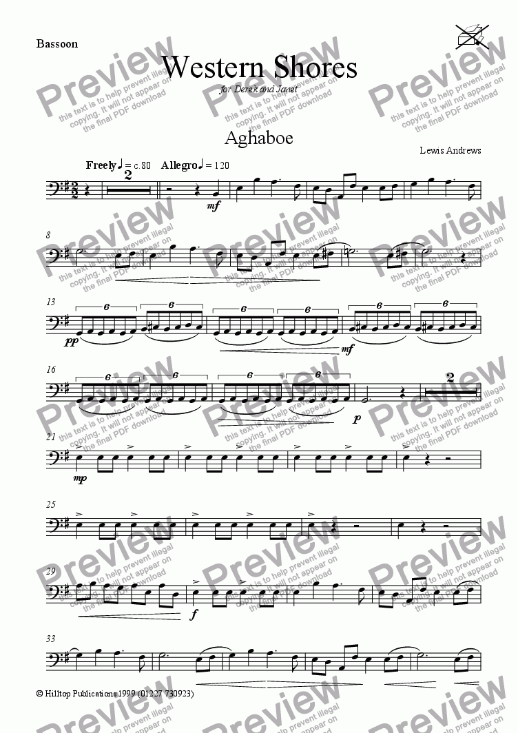 page one of the Bassoon part from Western Shores