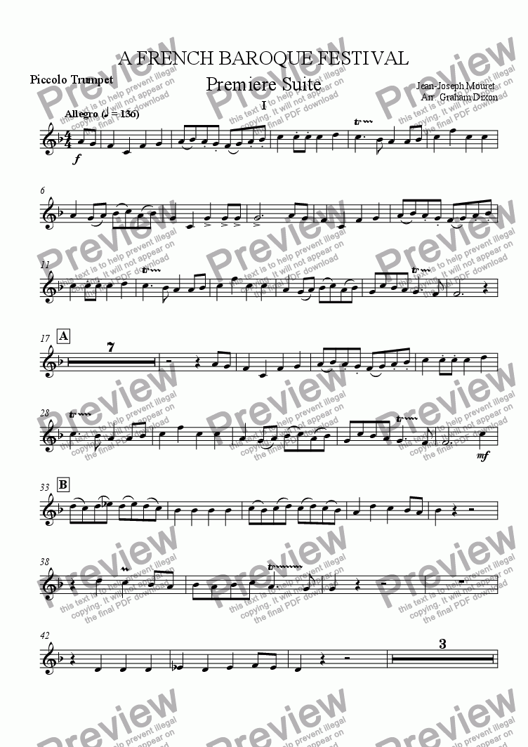page one of the Piccolo Trumpet in A part from A French Baroque Festival for Brass Quintet