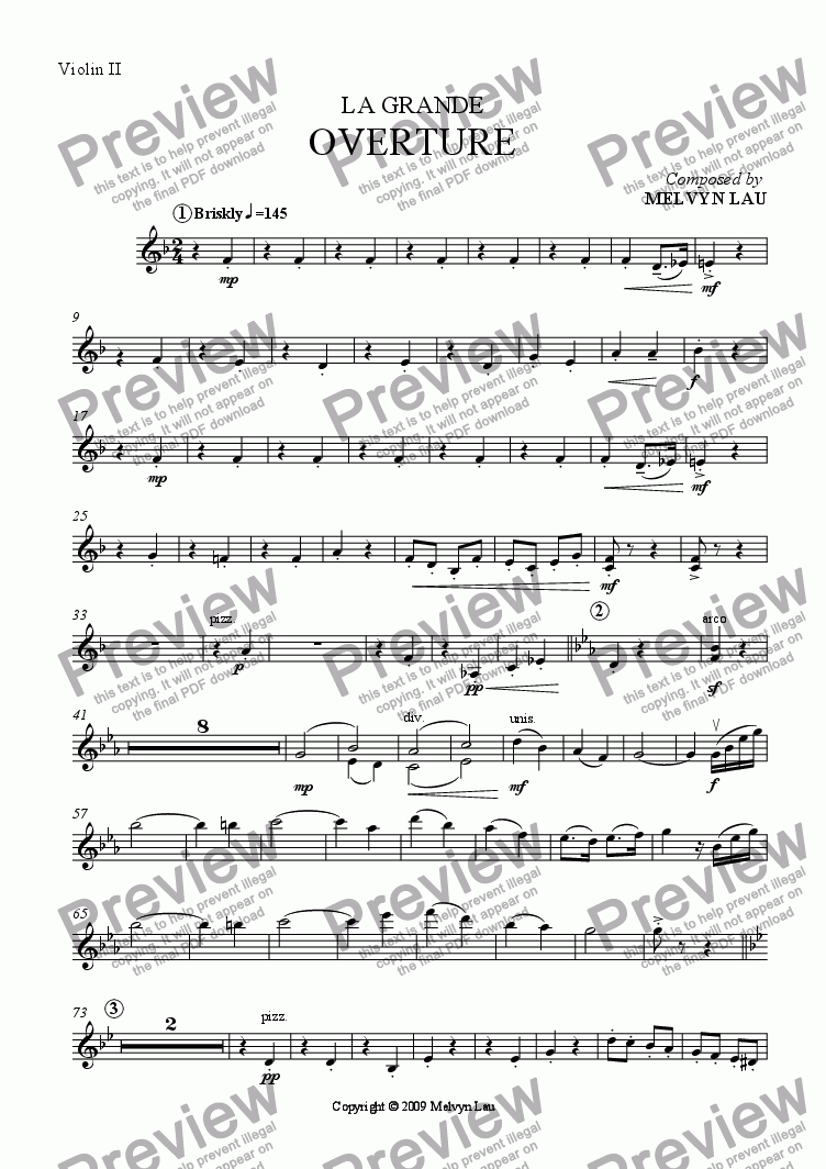 "page one of the Violin II part from Overture (""La Grande"") for Orchestra"