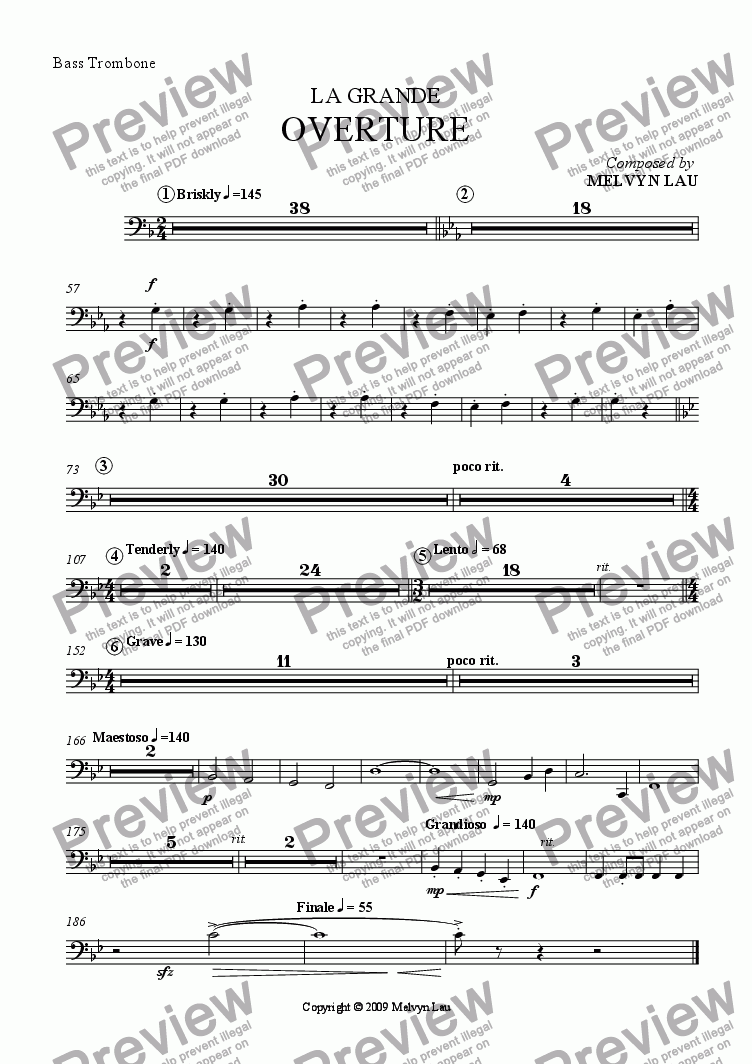 "page one of the Bass Trombone part from Overture (""La Grande"") for Orchestra"