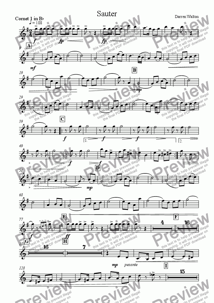 page one of the Bb Cornet 1 part from Sauter - A March for Military Band