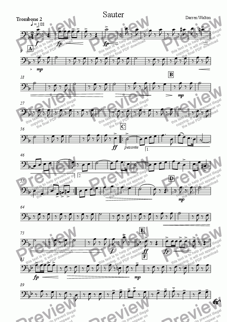 page one of the Trombone 2 part from Sauter - A March for Military Band