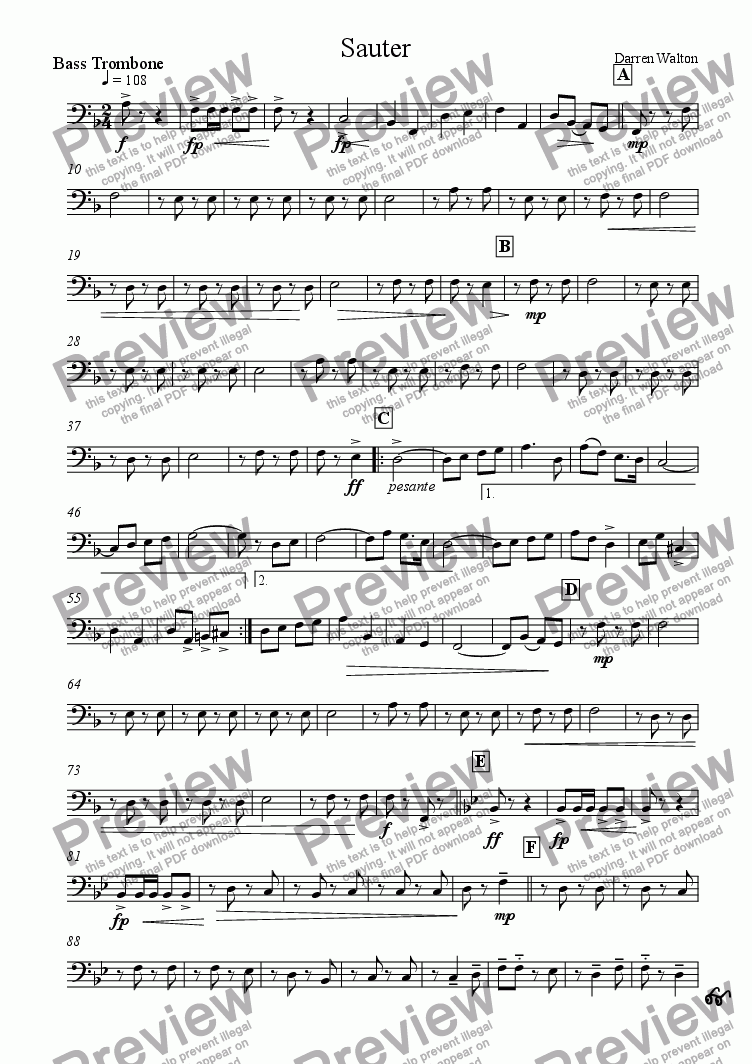 page one of the Bass Trombone part from Sauter - A March for Military Band