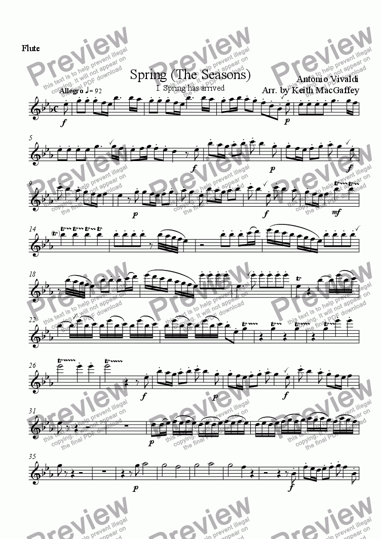 page one of the Flute part from Vivaldi Spring I Spring has arrived arr. wind quintet