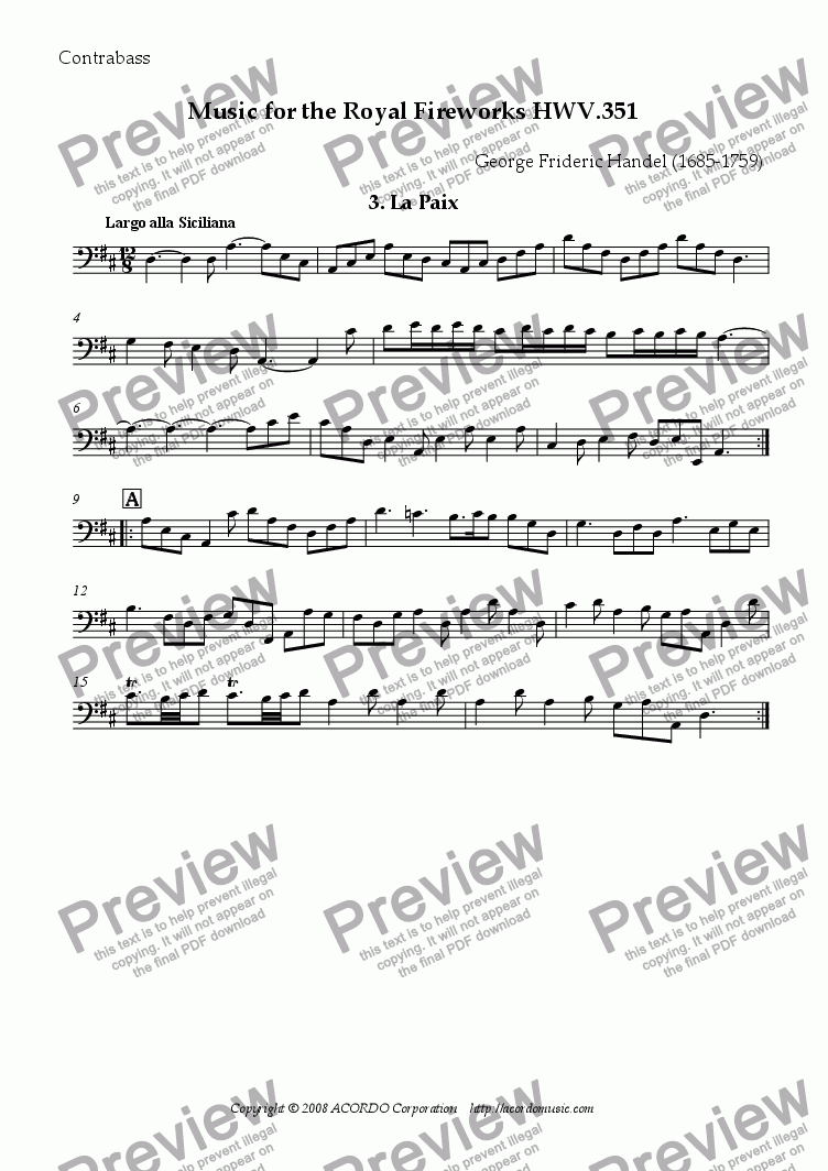 page one of the Contrabass part from The Music for the Royal Fireworks, HWV 351, III. La Paix
