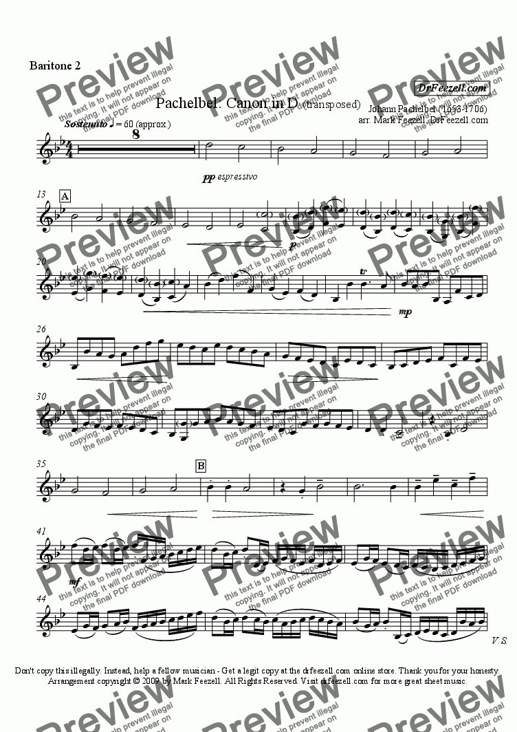 page one of the baritone 2 part from Pachelbel's Canon for baritone quartet