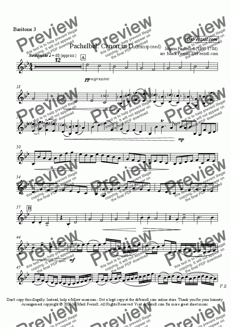 page one of the baritone 3 part from Pachelbel's Canon for baritone quartet