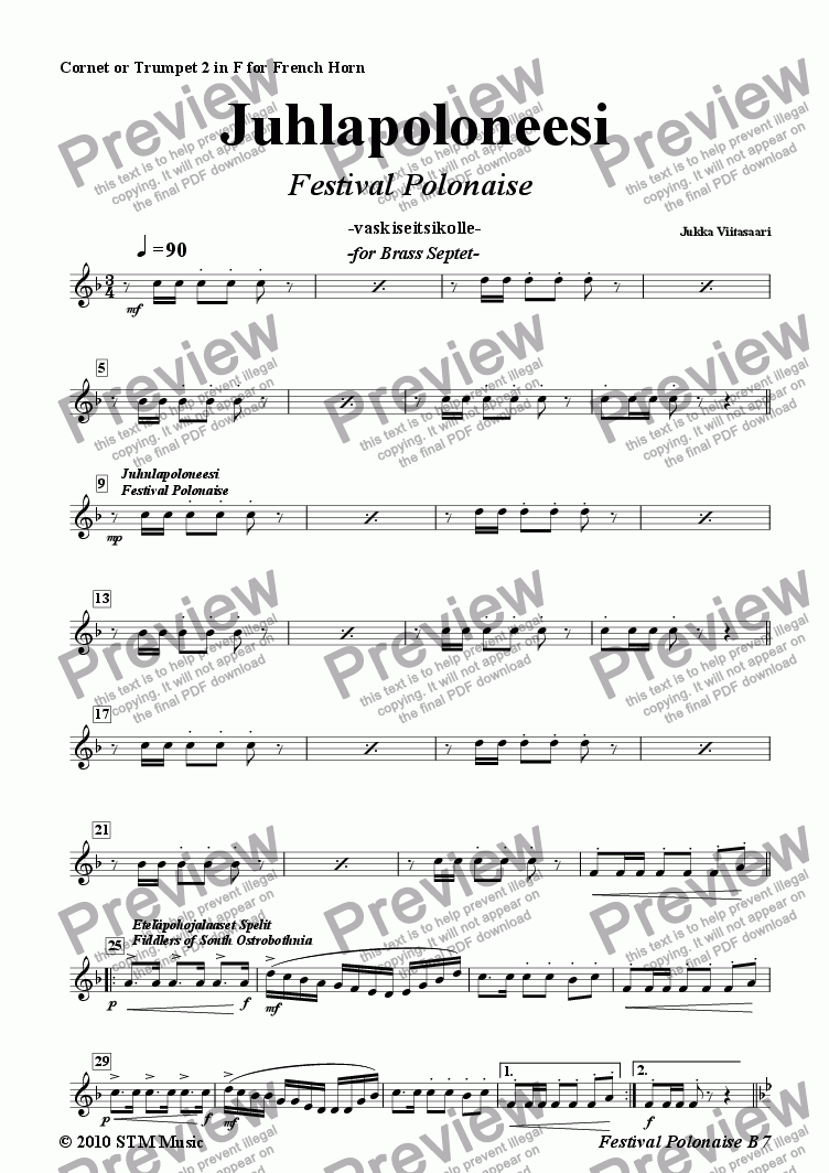 page one of the 3C.  2nd Cornet/Trumpet in F (French Horn) part from Festival Polonaise (brass septet)