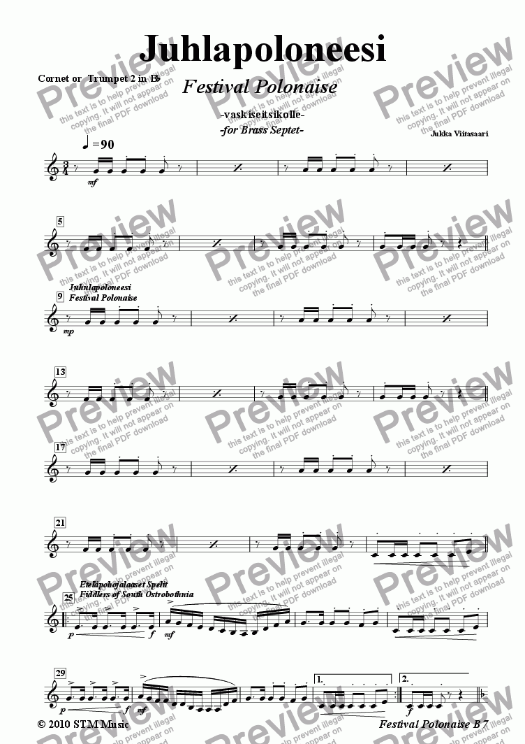 page one of the 3. 2nd Cornet/Trumpet in Bb part from Festival Polonaise (brass septet)